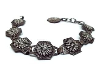 Vintage Flower Bracelet Antiqued Silver Tone Stamped Floral Design with Hook Clasp Adjustable Length