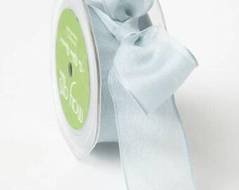 Sheer ribbon , 1.5 Inch Blue  Wired  Ribbon, Gray Ribbon , Ribbon. Gift Wrap, Packaging, Wedding Favors,