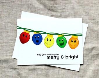 Cute Christmas Card - Merry & Bright Christmas Card, Christmas Lights Christmas Card, Cute Holiday Card