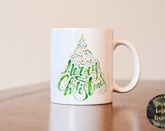 Merry Christmas Mug, Christmas Mug, Christmas Gift, Christmas Decor, Christmas Coffee Mug, Watercolor Mug, Christmas Tree Mug