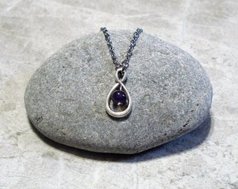 Amethyst Infinity Necklace February Birthstone Pendant Jewelry Antique Silver