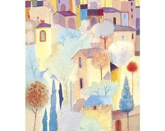 Summer Buildings - Contemporary Art Poster Print from an Original Watercolour - Rare - Hand Signed in Pencil by artist Giuliana Lazzerini
