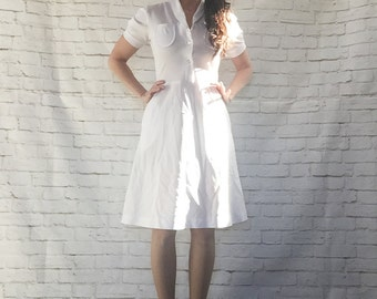 Vintage 40s White Nurse Uniform Dress M Puff Sleeve Hip Pockets Knee Length WWII Costume