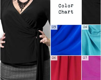 PLUS SIZE wrap top w/ Kimono sleeve *NEW* Choose your color: Black, red, pink, blue...  In your size xl - 1x - 2x - 3x