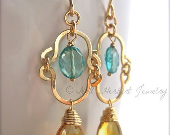 Citrine and Apatite Earrings in 14K Gold Fill, Gemstone Dangle Earrings, Blue Gold Yellow Gemstone Jewelry, Gold Earrings