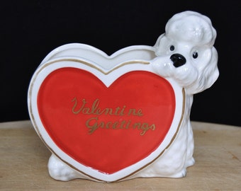 Vintage Valentine Greetings Planter with Dog and Heart Shape