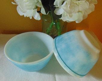 Vintage Set of Two Chippy Sky Blue Pyrex  1  & 1/2 PT Ovenware Bowls