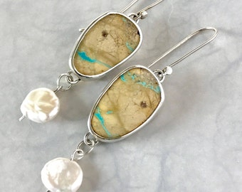 Turquoise and Pearl Silver Dangle Earrings, Gift for her, ready to ship