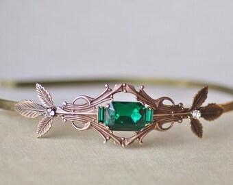 Art Deco Emerald Green Jewel Headband,Antique Brass Rhinestone Headband,Bridal Headpiece,Leaf Leaves,Woodland,Antique Style,Filigree,Gift
