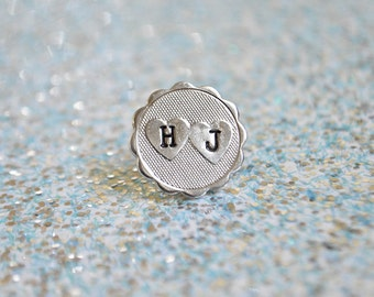 Personalized Heart Pin - Valentine's Day Pin - Lapel Pin - Double Initial -  Personalized Jewelry - Heart Jewelry - Double Heart