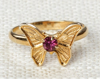 Vintage Butterfly Ring Purple Rhinestone Small Adjustable XS or Child's Size Vintage Ring Gold Butterfly Adjustable 16R