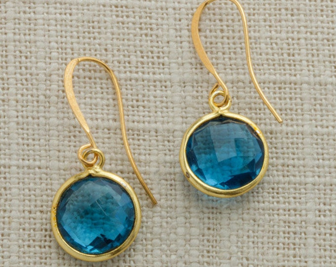 Aqua Turquoise Teal Bead Gold Earring French Hooks Handcrafted 6H