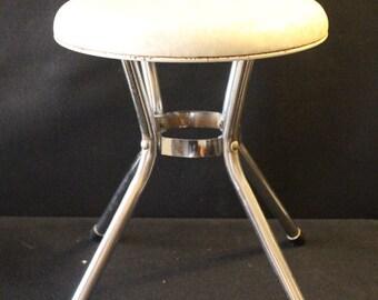 Vintage Cosco Stool Vinyl Seat Chrome Legs