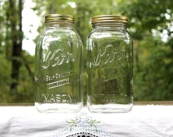 2 HALF GALLON Kerr Self Sealing Mason Jars - Farmhouse & Industrial Kitchen ~ Pantry and Counter Storage - Insurance w/Shipping