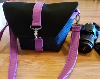 New-Camera bag-Digital SLR camera bag-Dslr camera case-purse-womens camera bag-Extra Bonus-Strap cover-Sweet Magenta