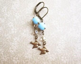 Bluebird Earrings / Vintage Rhinestone Jewelry / Mori Girl / Boho Summer Jewelry