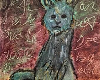 BLUE CAT Art Print on Cardstock