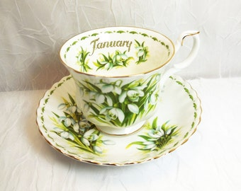 Royal Albert Teacup & Saucer, Flower of the Month Series, January Snowdrops, Vintage English Bone China