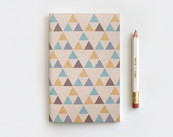 Handcrafted Triangles Geometric Notebook & Pencil Set - Recycled Journal - Native American Inspired Gifts for Him - Mini, Large or Midori