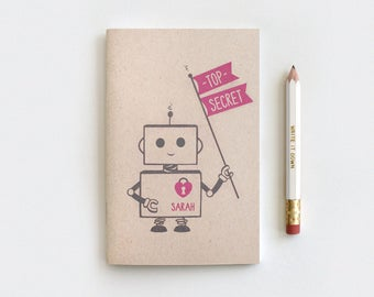 Mini Journal - Top Secret Robot Personalized Notebook Journal & Pencil Set, Kawaii Recycled Stocking Stuffer, 5 Colors, Mini Large or Midori