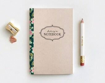 Personalized Notebook, Midori Insert Journal & Pencil Set - Customized Stocking Stuffer 3 Floral Patterns, Teachers Gifts