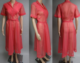 Vintage 1940s Dress   Sheer 40s Dress   Coral 1940s Dress   40s Dress   Pleated Bodice   Rhinestone Buttons   1940s Illusion Dress