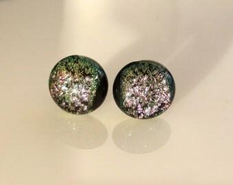 Titanium Post  13mm Black Shimmer Dichroic Glass Stud Earrings Hypoallergenic Sensitive Ears