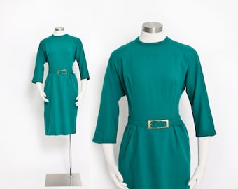 Vintage 60s Dress - Emerald Green Wool Fitted Pin Up Wiggle Day Dress 1960s - Large