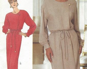 90s David Warren Womens Dress Dropped Shoulders Waistline Casing Butterick Sewing Pattern 3753 Size 12 14 16 Bust 34 36 38 UnCut