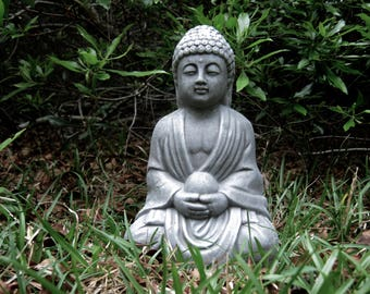 Buddha Statues, Concrete Buddha Figure Holding Pearl, Cement Outdoor Decor  For Home And Garden