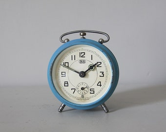 French Antique Alarm Clock, Blue, Shabby Chic