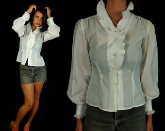 vtg 80s white VICTORIAN RUFFLE secretary Pleated BLOUSE xs/s skinny fitted tuxedo puff sleeve top shirt dolly retro boho