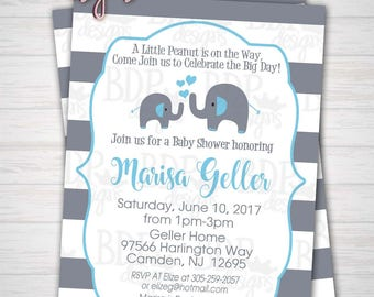 Little Peanut Baby Blue & Gray Elephant Baby Boy Stripes Baby Shower Invitation Customized Digital Download OR Prints (Details Below)