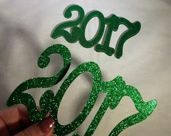 12 Glitter 2017 //  Jumbo Graduation Confetti // 2017 // Graduation Party Decorations // Grad // Prom // 12 pieces // 5.5 inches
