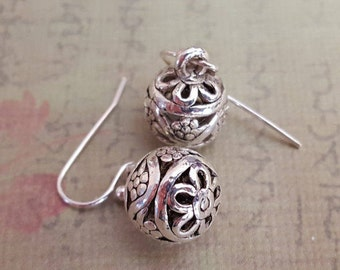 Silver Flower  Earrings - Antiqued Silver Filigree Ball Charms,  Your Choice of Kidney Earwires or Hook Earwires