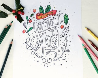 printable coloring page, illustrated christmas coloring page, printable coloring page