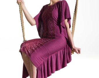 Purple pink dress, frills dress, jersey dress, original dress, unique dress, recycled dress, unusual design dress