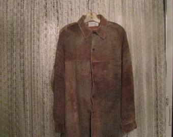 Vintage Western Distressed Lamb Leather Shirt Jacket By Jose Luis 44R