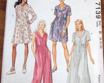 Vintage Easy Learn to Sew Sewing Pattern McCall's 7139, Romper, Jumpsuit, Dress Womens Misses Size 8 10 12 Bust 31 32 34 Uncut Factory Folds