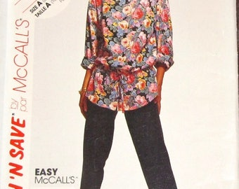 Vintage Sewing Pattern McCalls Stitch n Save 5735 Buttoned Tunic Top Pants Womens Misses Size 6-8 10-12 Bust 30-31 32-34 Uncut Factory Folds