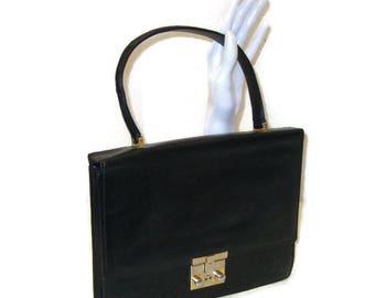 60s Black Purse Black Faux Leather Purse 1960s Small Black Handbag Black Pocketbook Vegan Friendly Purse with Key Faux Black Leather