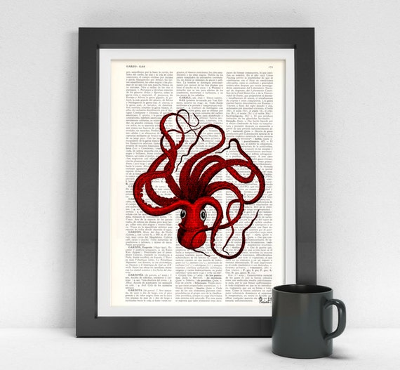 Octopus art, Red Octopus Print on Vintage Book page, Wall art home decor, octopus print, giclee print, sealife art SEA045