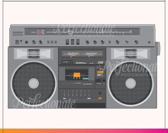 Printable 80s Boombox Photo Booth Prop | Printable 80s Props | Instant Download | 80s Photo-Booth
