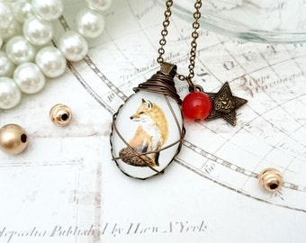 Red Fox Necklace - Art Print Necklace, Fox Jewelry, Wire Wrapped Necklace, Image Necklace, Red Fox Pendant, Fox Gift