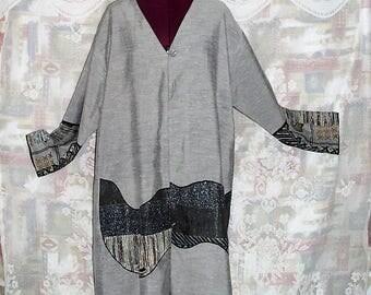 Plus Size Embellished embroidered long jacket #KheGreen