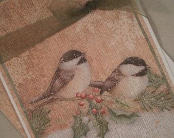 Christmas Card, Birds Card, Birds, Handmade Christmas Card, Christmas Birds, Holiday Card