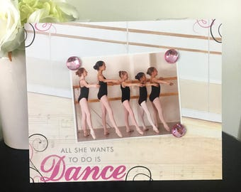 """All She Wants To Do is Dance Version 2 Ballet Ballerina Dancer Frame handmade gift magnetic picture frame holds 5"""" x 7"""" photo 9"""" x 11"""" size"""