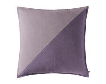 Color block pillow cover, Violet and light purple linen pillow cover, 20 x 20 pillow cover , 50 x 50 cm, Violet accent pillow, Violet pillow