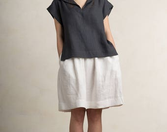 Charcoal linen blouse, Linen women's top, Short sleeve linen shirt, Dark grey linen clothes by LHI