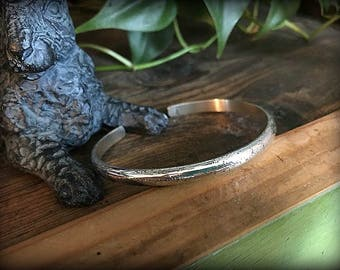 Heavy Sterling Silver Textured Cuff